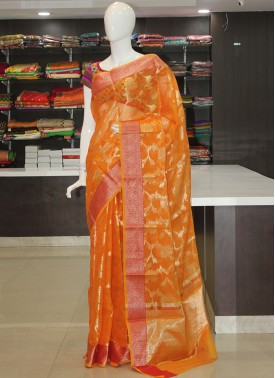 Yellowish Orange Fancy Kota Saree in Allover Design